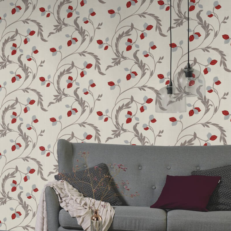 Erismann Shimmer Floral Red Glitter Wallpaper - 9782-06
