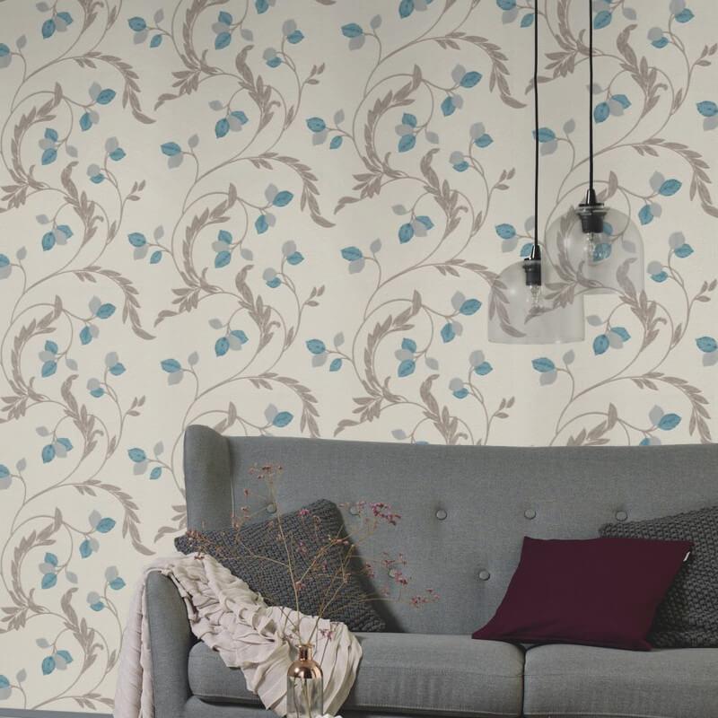 Erismann Shimmer Floral Teal Glitter Wallpaper - 9782-18
