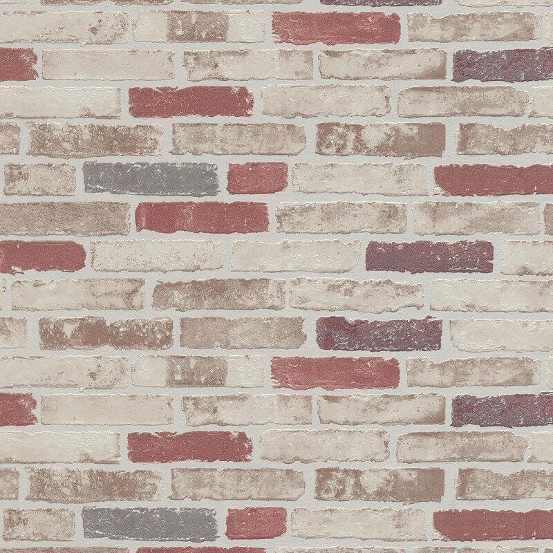 Erismann brick wall red cream wallpaper 6703 13 for Cream wallpaper for walls