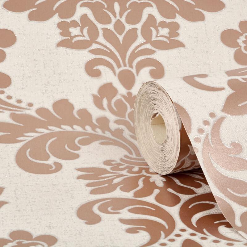 Fine Decor Quartz Damask Rose Gold Glitter Wallpaper - FD42204
