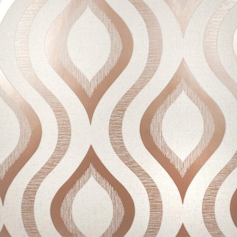 Fine Decor Quartz Geo Rose Gold Glitter Wallpaper - FD42206