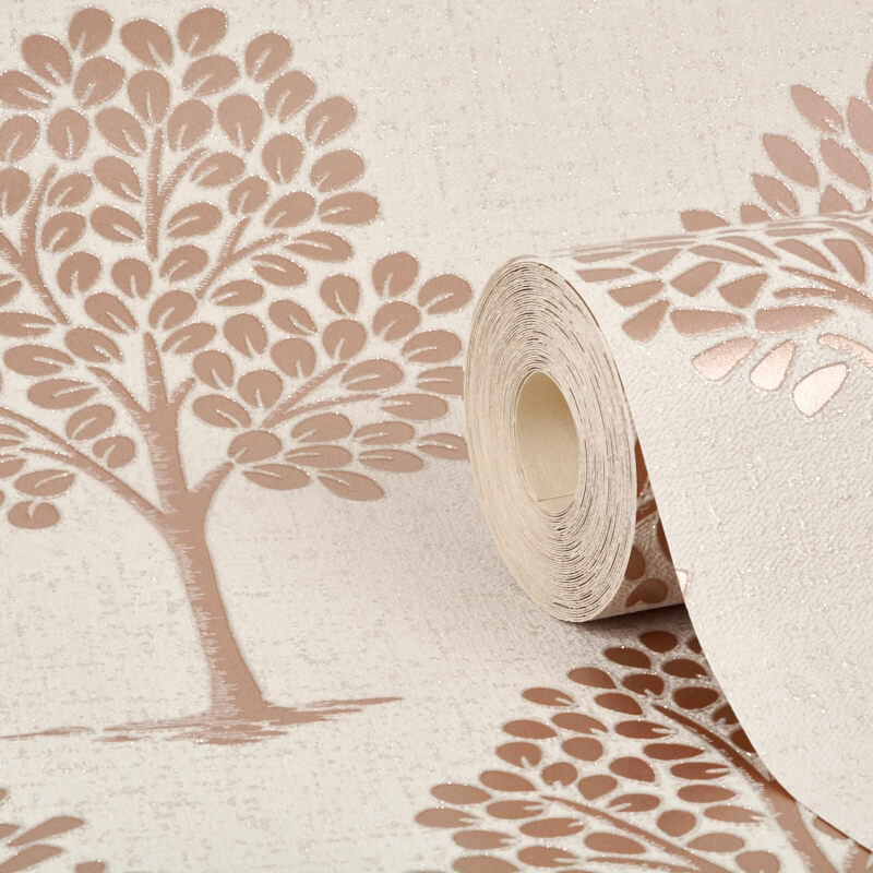 Fine Decor Quartz Tree Rose Gold Glitter Wallpaper - FD42208
