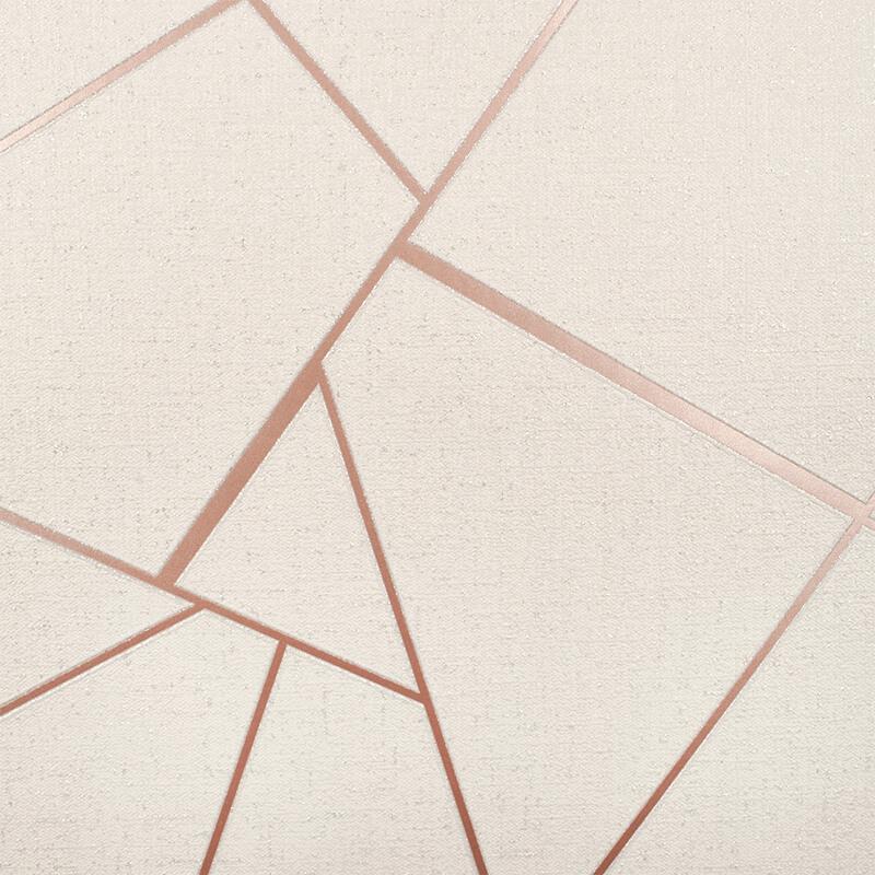 Fine Decor Quartz Fractal Rose Gold Glitter Wallpaper - FD42282