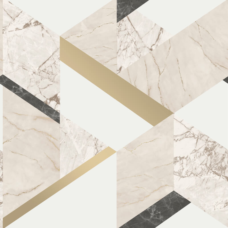 Fine Decor Marblesque Geo Cream Metallic Wallpaper - FD42300