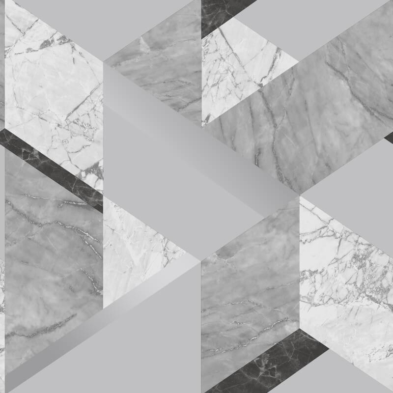 Fine Decor Marblesque Geo Grey Metallic Wallpaper - FD42302