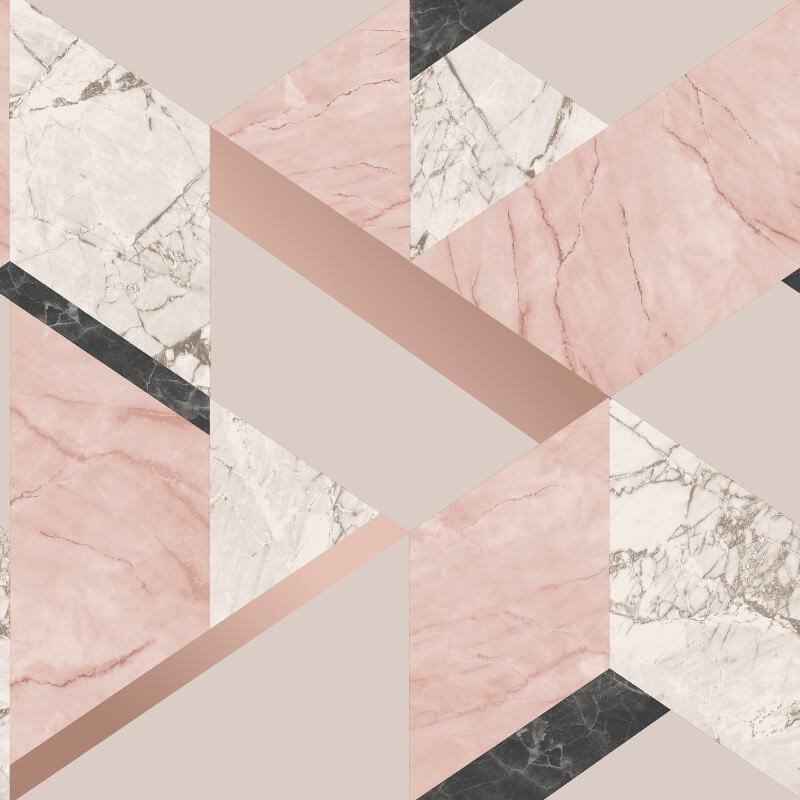 Fine Decor Marblesque Geo Pink Metallic Wallpaper - FD42303