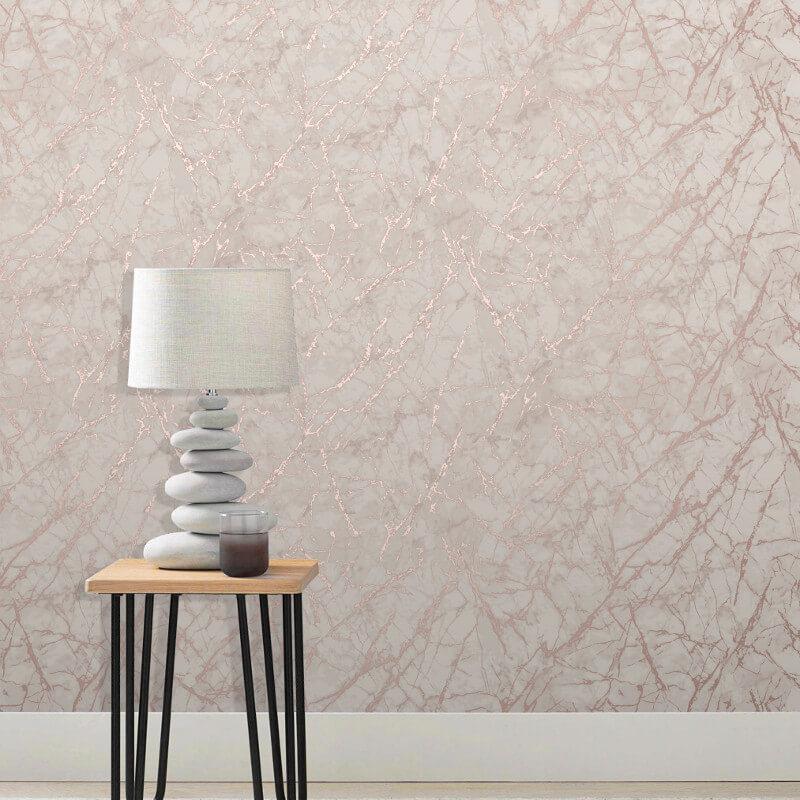 Fine Decor Marblesque Marble Rose Gold Metallic Wallpaper - FD42268