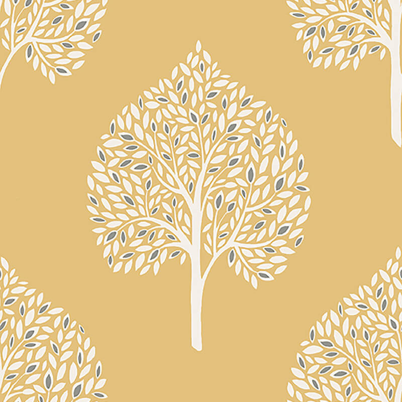 Fine decor annabelle tree yellow wallpaper fd41930 for Yellow wallpaper home decor