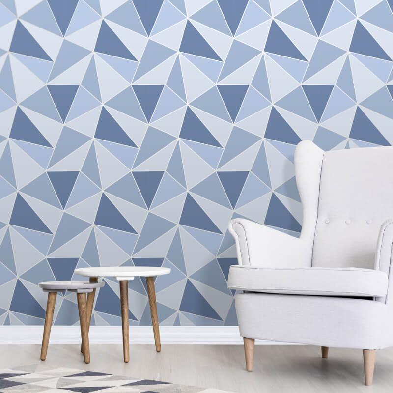 Apex Geo Wallpaper Rose Gold: Fine Decor Apex Geo Blue Wallpaper