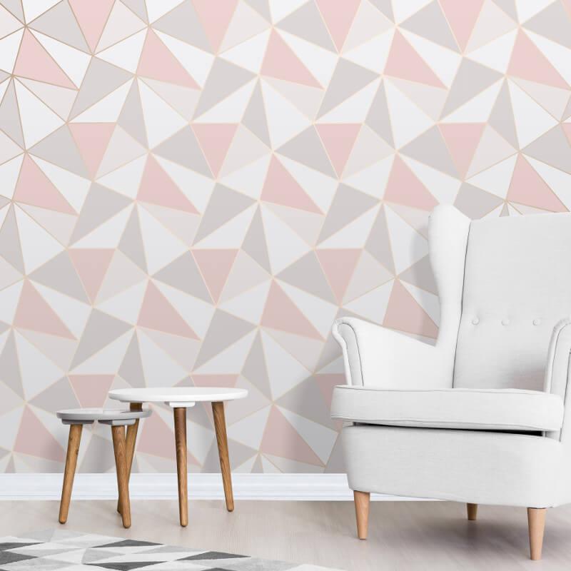 Fine decor apex geo rose gold wallpaper fd41993 for Wallpaper decor