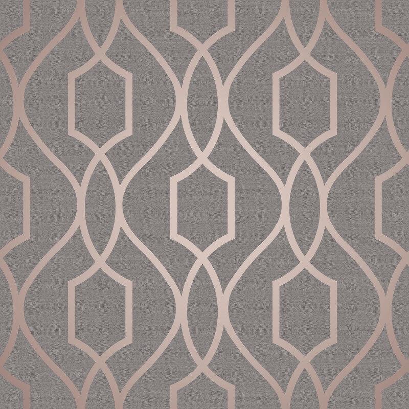 Fine Decor Apex Trellis Copper/Charcoal Wallpaper - FD41998
