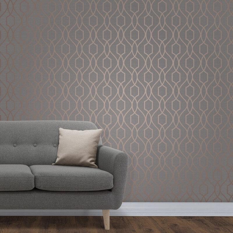 Fine Decor Apex Trellis Copper/Charcoal Wallpaper   FD41998