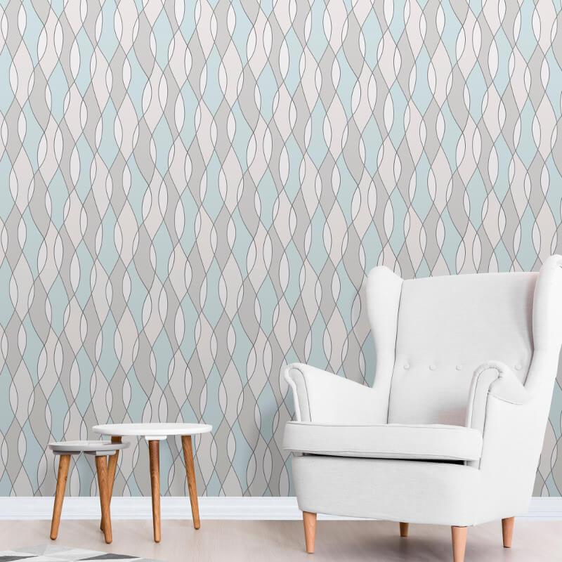 Fine Decor Apex Wave Blue Wallpaper - FD42171
