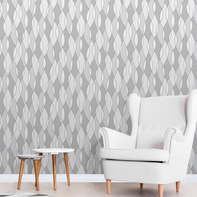 Fine Decor Apex Wave Grey/Silver Wallpaper - FD42174
