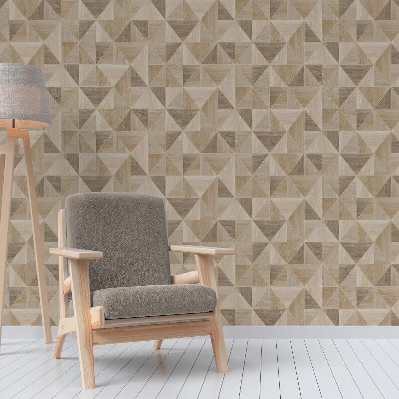 Fine Decor Apex Wood Grain Geo Oak Wallpaper - FD42222