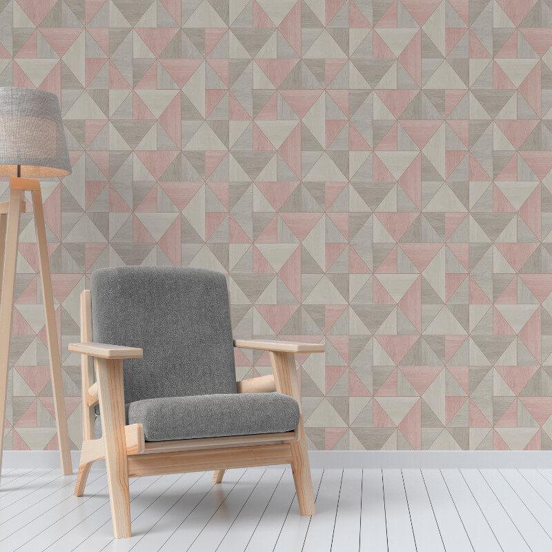 Fine Decor Apex Wood Grain Geo Rose Gold Wallpaper