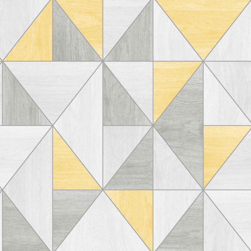 Fine Decor Apex Wood Grain Geo Yellow/Grey Wallpaper - FD42223