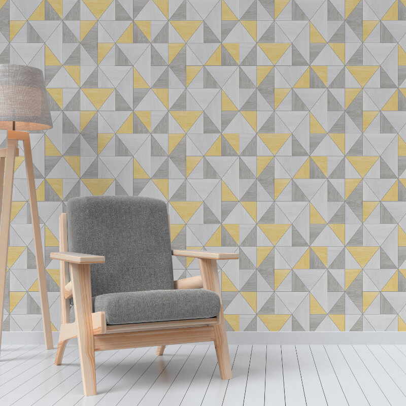 Fine decor apex wood grain geo yellow grey wallpaper for Yellow wallpaper home decor