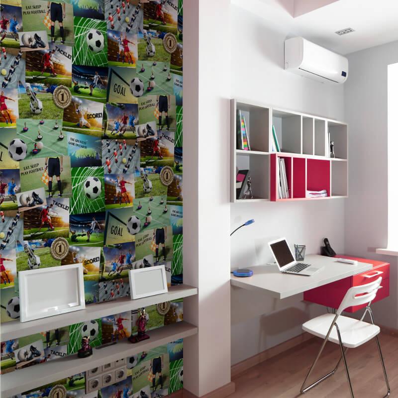Fine Decor Football Collage Multi Wallpaper - FD41915