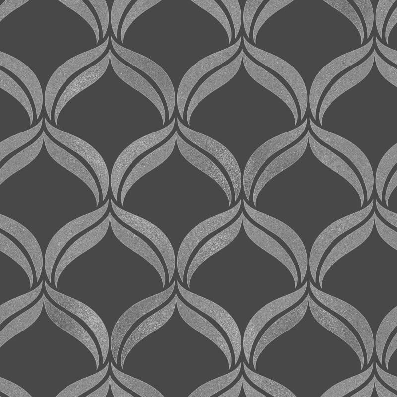 Fine Decor Geometric Black/Silver Glitter Wallpaper - FD41702