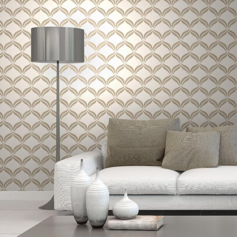 Fine Decor Geometric Cream/Gold Glitter Wallpaper - FD41708