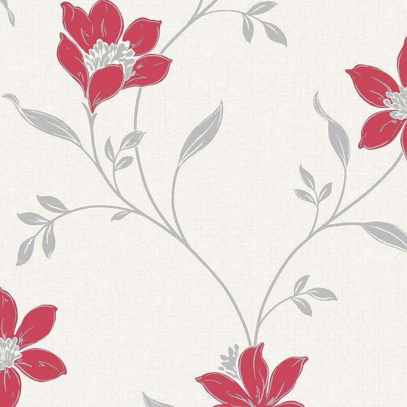 Fine Decor Isobelle Floral Red/Silver Wallpaper - FD41940