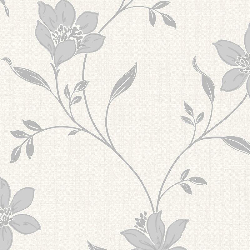 Fine Decor Isobelle Floral Stone/Silver Wallpaper - FD41946