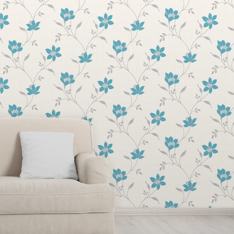 Fine Decor Isobelle Floral Teal/Silver Wallpaper - FD41942
