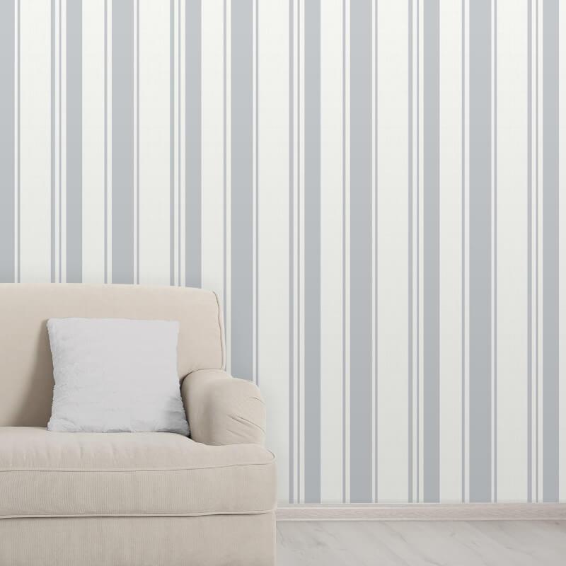 Fine Decor Isobelle Stripe Stone/Silver Wallpaper - FD41947