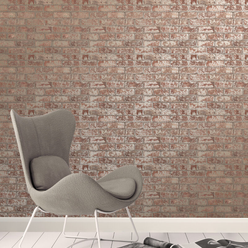 Fine Decor Loft Brick Natural Metallic Wallpaper - FD41954 (Brick)