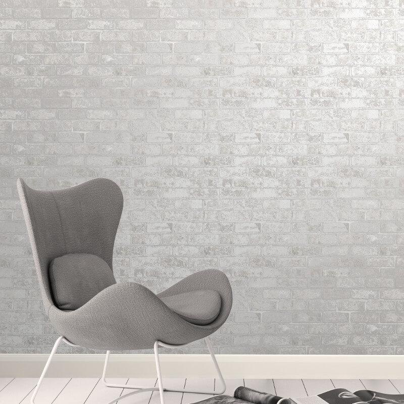 Fine Decor Loft Brick White Metallic Wallpaper - FD41953 (Brick)