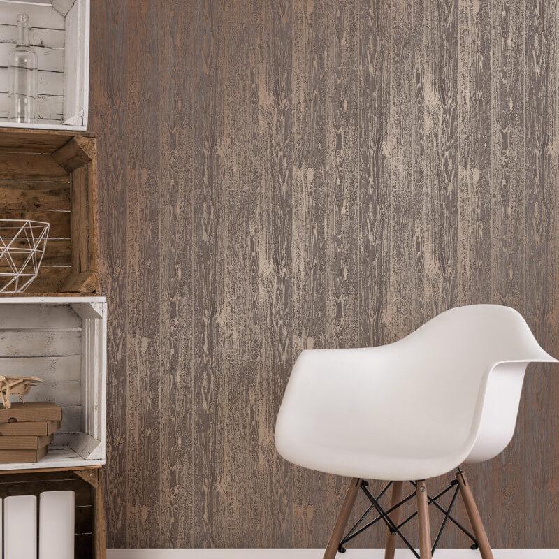 Fine Decor Loft Wood Brown Metallic Wallpaper - FD41959 (Loft Wood)