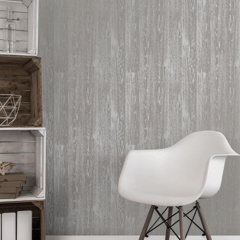 Fine Decor Loft Wood Grey Metallic Wallpaper - FD41960