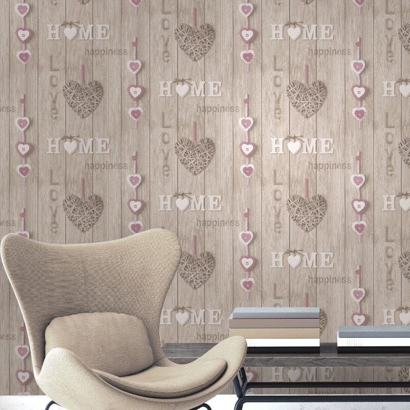 Fine Decor Love Your Home Lilac/Beige Wallpaper - FD41720