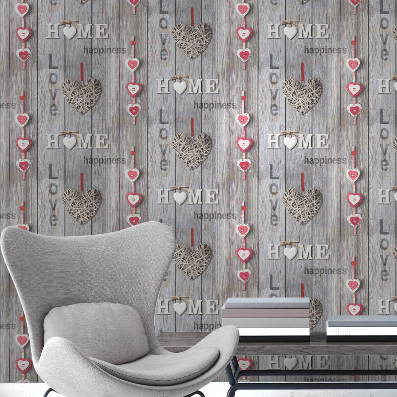 Fine Decor Love Your Home Red/Brown Wallpaper - FD41718