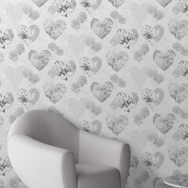 Fine Decor Novelty Hearts Grey Wallpaper - FD41914