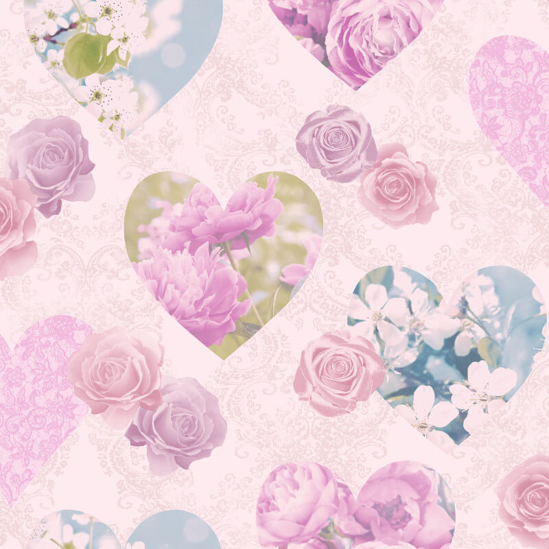 Fine Decor Novelty Hearts Lilac Wallpaper - FD41913