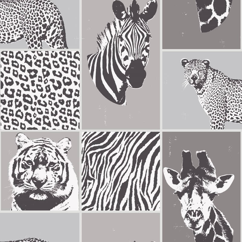 Fine Decor Novelty Safari Animal Grey Wallpaper - FD41919