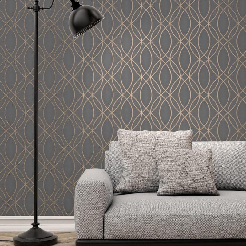 Fine Decor Ogee Wave Charcoal Metallic Glitter Wallpaper - FD42349