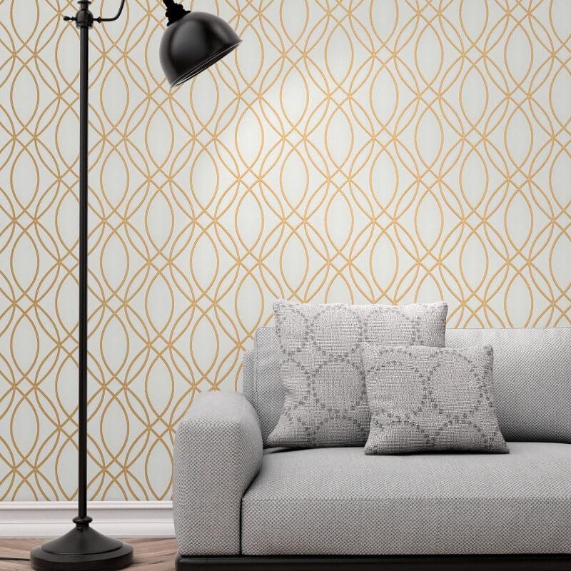 Fine Decor Ogee Wave Cream/Gold Metallic Glitter Wallpaper - FD42341