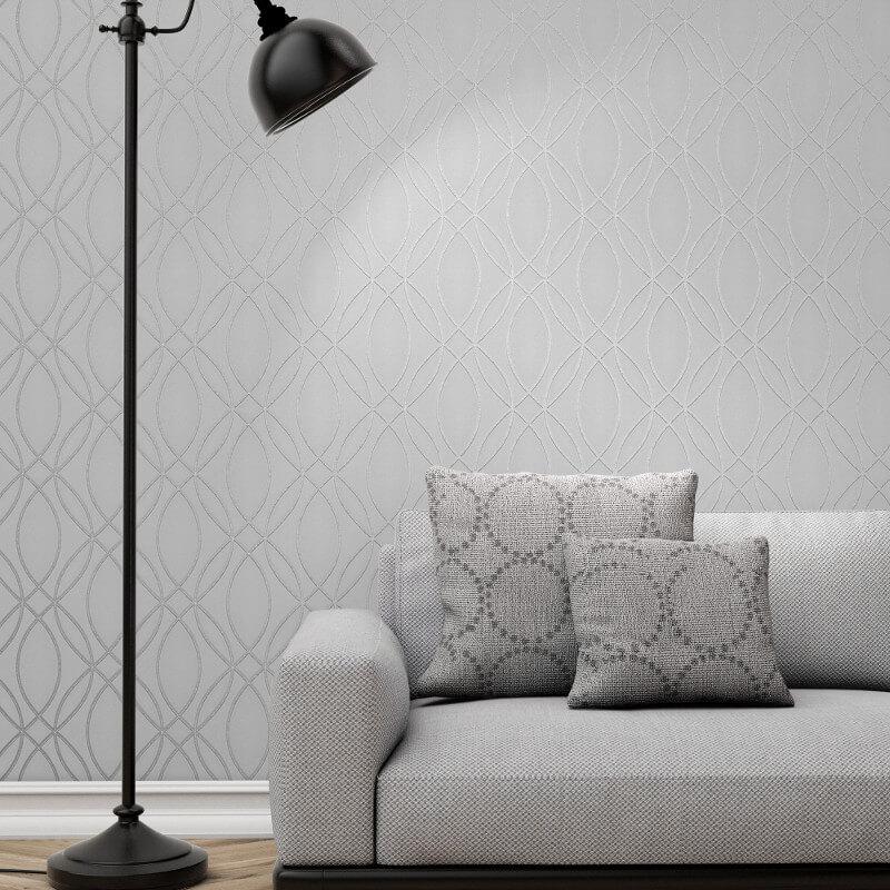 Fine Decor Ogee Wave Silver Metallic Glitter Wallpaper - FD42337