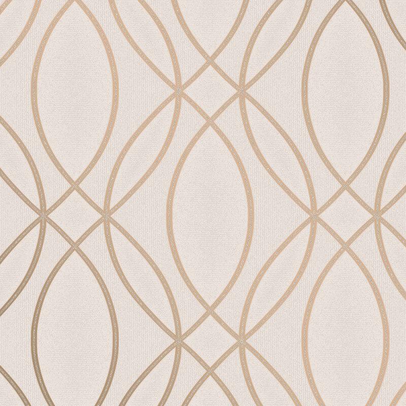 Fine Decor Ogee Wave Taupe Metallic Glitter Wallpaper - FD42345