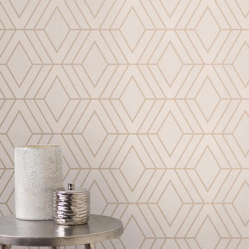 Fine Decor Pulse Diamond Taupe Metallic Glitter Wallpaper - FD42348