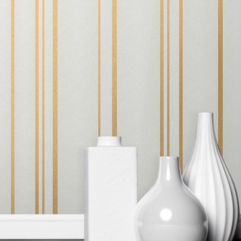 Fine Decor Pulse Stripe Cream/Gold Metallic Glitter Wallpaper - FD42343