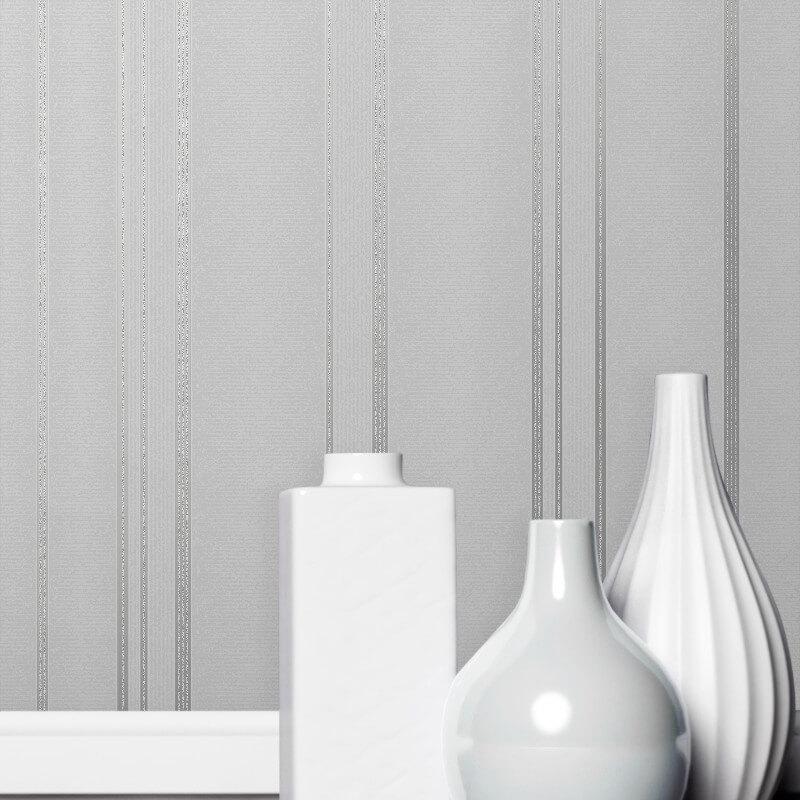 Fine Decor Pulse Stripe Silver Metallic Glitter Wallpaper - FD42339