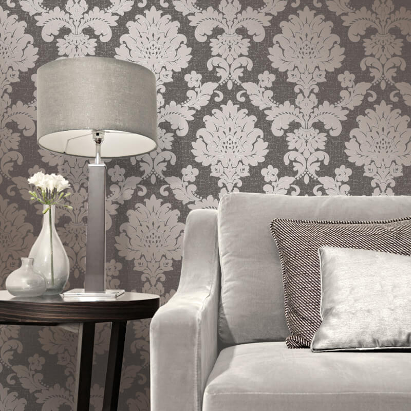 Fine Decor Quartz Damask Bronze Glitter Wallpaper - FD41979