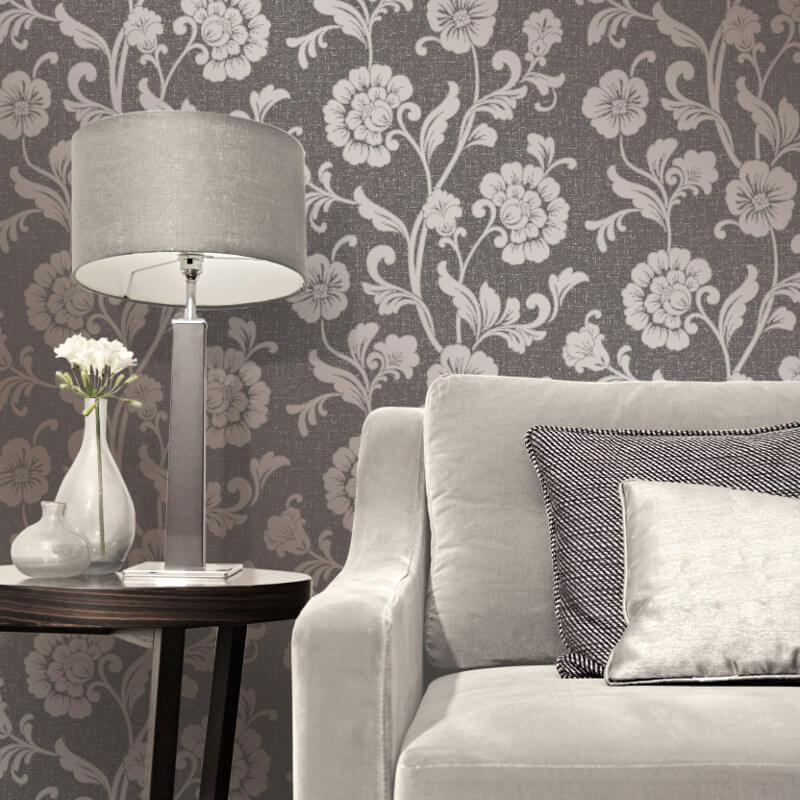 Fine Decor Quartz Floral Bronze Glitter Wallpaper - FD41980