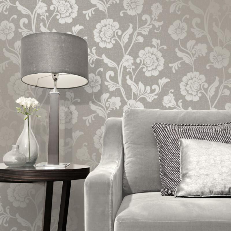 Fine Decor Quartz Floral Pewter Glitter Wallpaper - FD41976