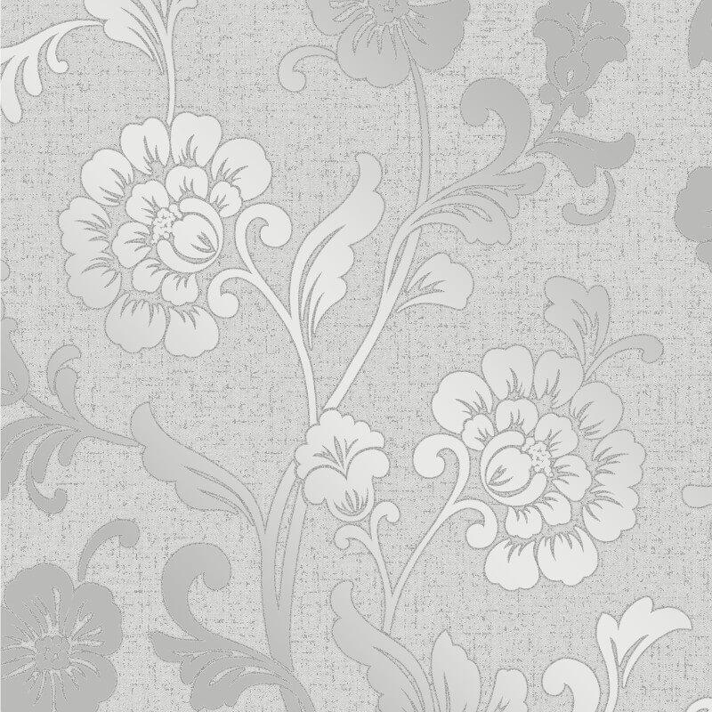 Fine Decor Quartz Floral Silver Glitter Wallpaper - FD41966