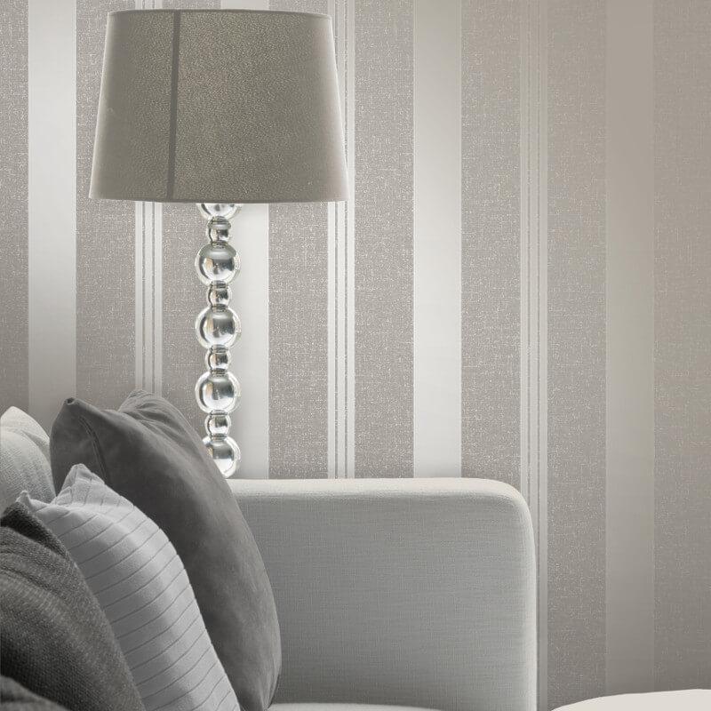 Fine Decor Quartz Stripe Pewter Glitter Wallpaper - FD41977